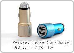 Window Breaker Car Charger Dual USB Ports 3.1A