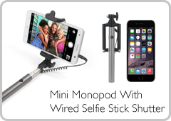 Mini Monopod With Wired Selfie Stick Shutter